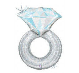 Foil Diamond Ring Balloon - Platinum