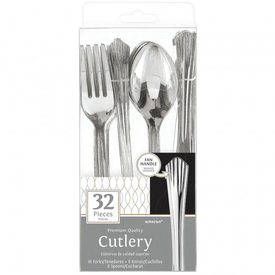 Silver Metallic Cutlery Set 24Pk