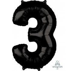 Black 66cm Number 3 Balloon