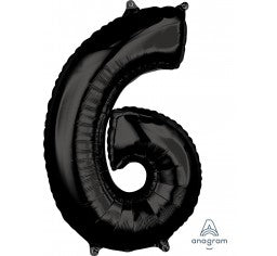 Black 66cm Number 6 Balloon