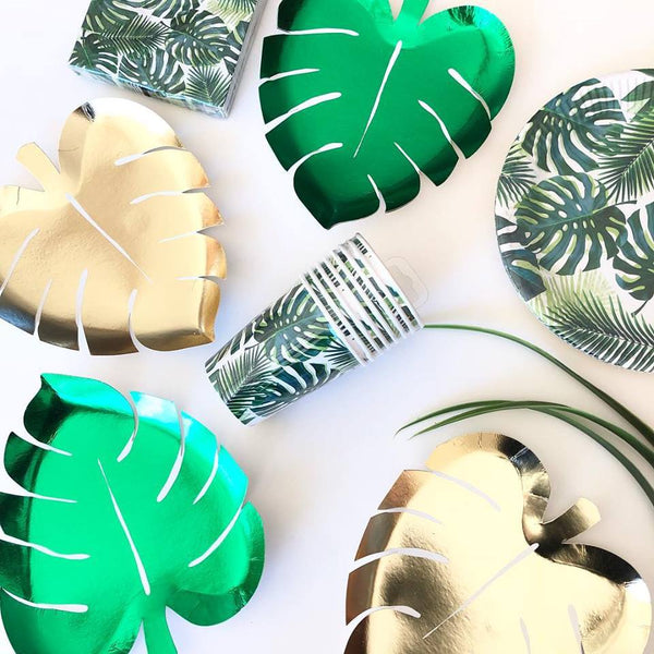 Gold Palm Leaf Paper Plates