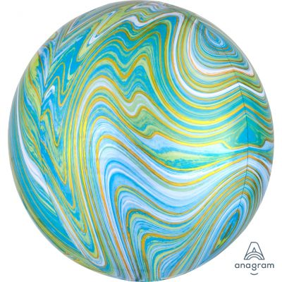 Marblez 40cm Orbz Balloon - Blue + Green