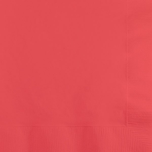Coral Paper Cocktail Napkins 50pk