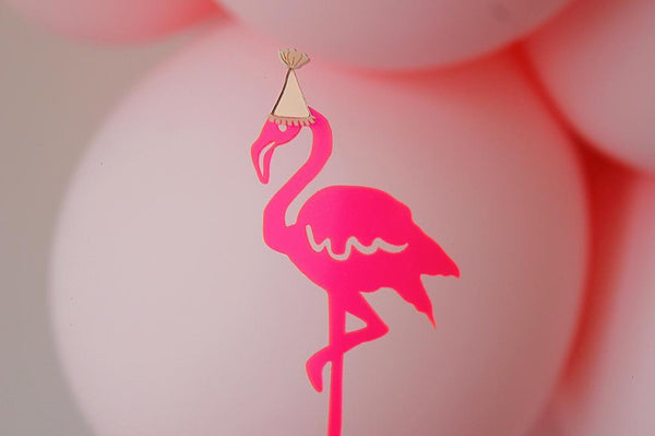 Neon Pink Mirror Hat Fancy Flamingo Cake Topper