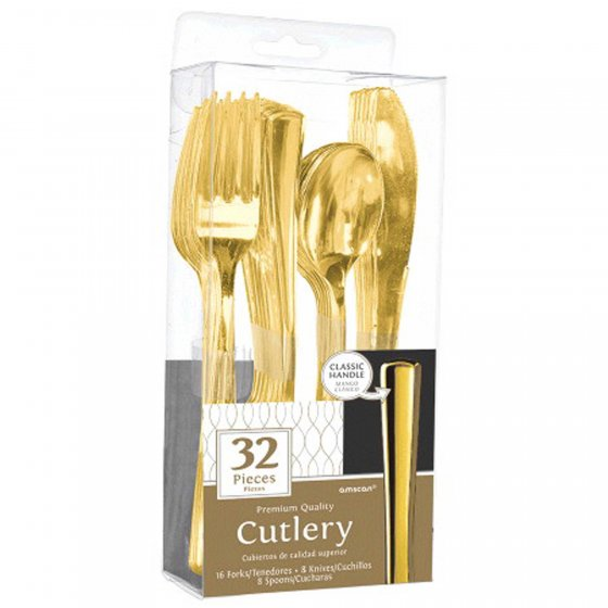 Gold Metallic Cutlery Set 32Pk
