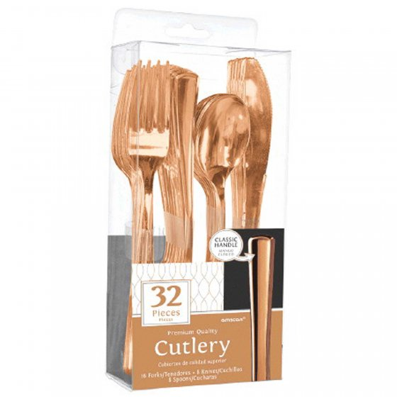 Rose Gold Metallic Cutlery Set 32Pk
