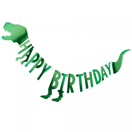 Foil Green 'ROAR' Dinosaur 'Happy Birthday' Bunting