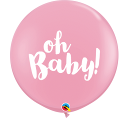 Jumbo Round 'oh baby!' Balloon - Light Pink
