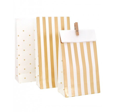 Gold Stripe & Spot Treat Bags