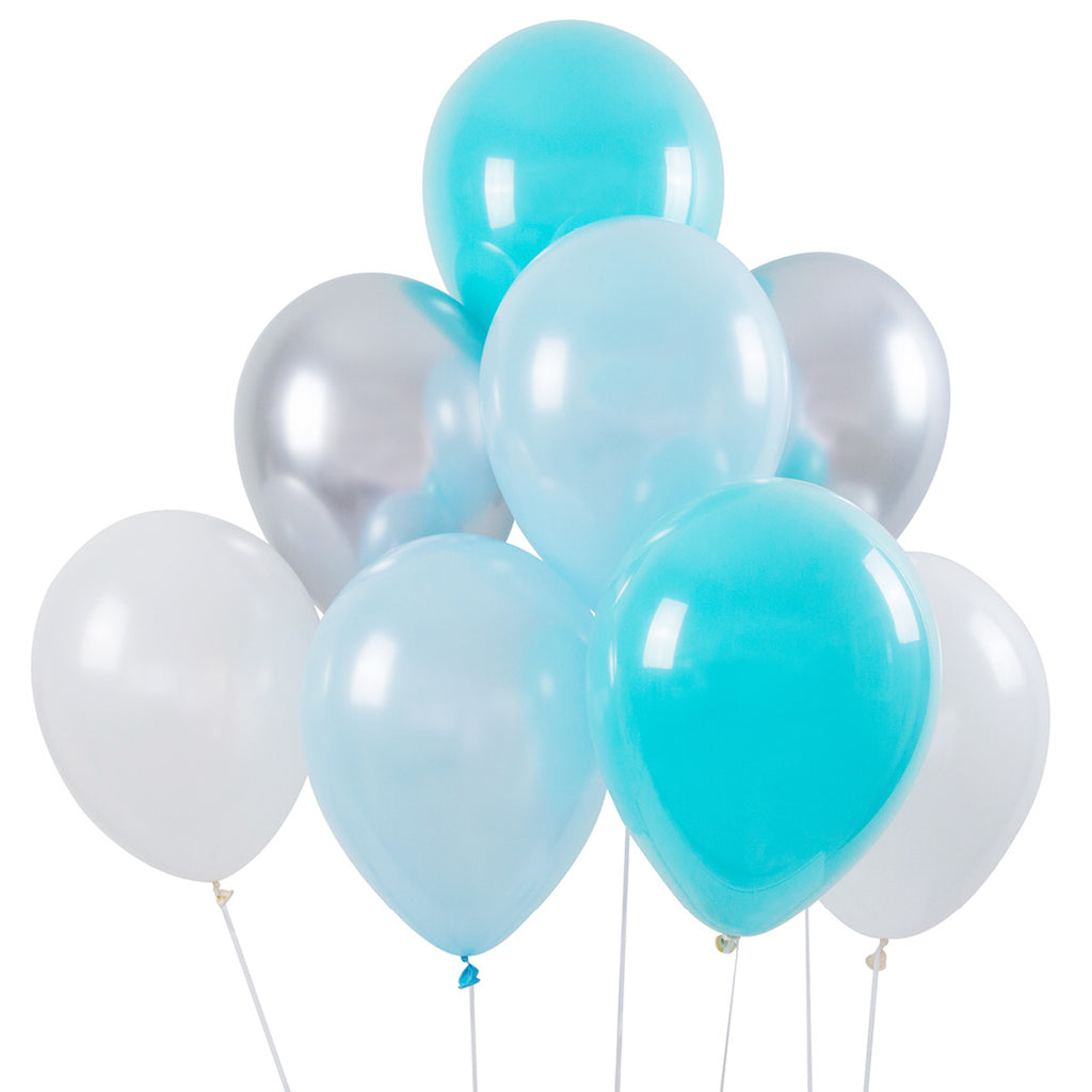 Balloon Bouquet 8Pk - Blue + Silver