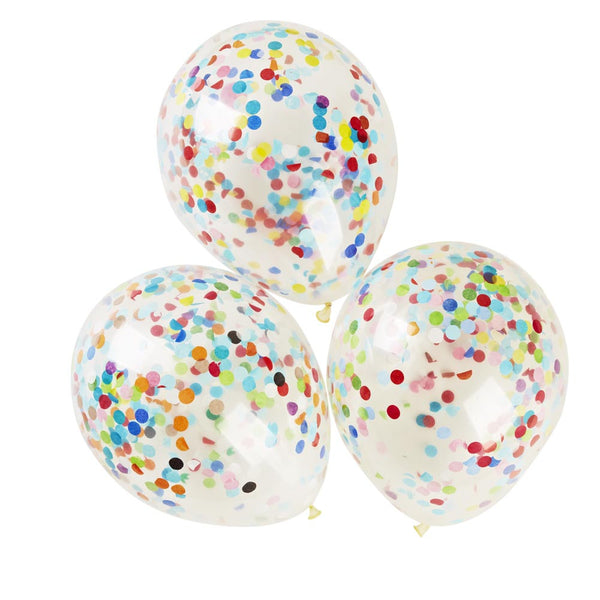 30cm Clear Confetti Filled Balloons 3pk