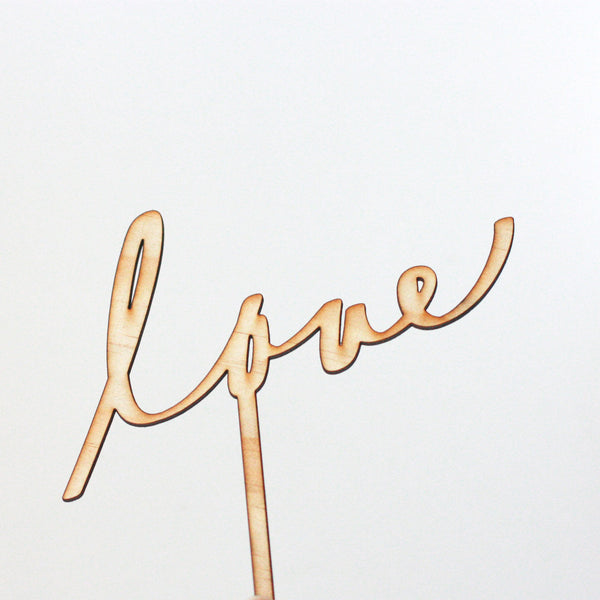 COMMUNICAKE IT Wooden 'love' Cake Topper
