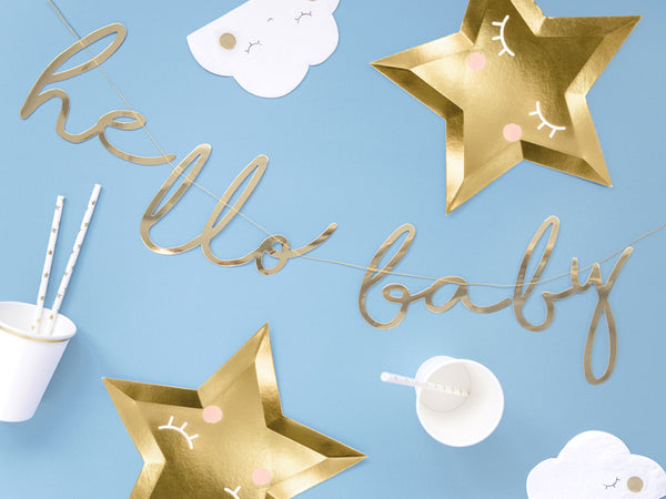 Little Star - 'Hello Baby' Gold Script Bunting