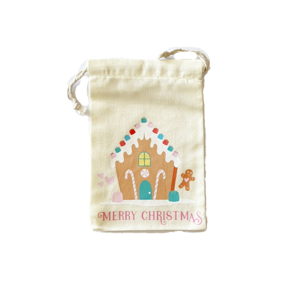 Calico Party Favour Bag - Merry Christmas Gingerbread House