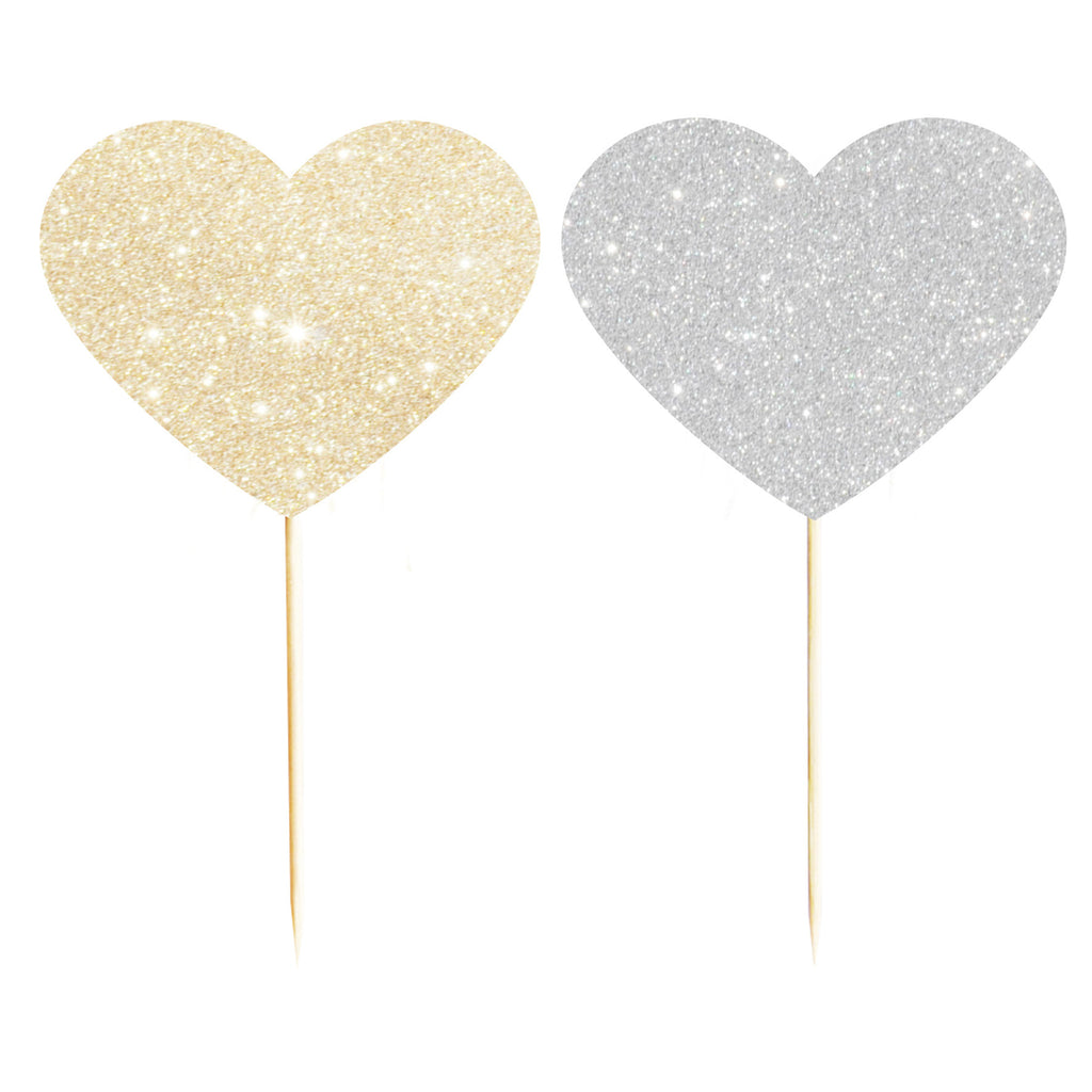 Glitter Heart Cupcake Toppers
