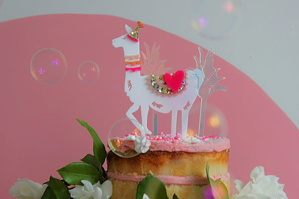 Hey Party Llama Cake Topper - PINK
