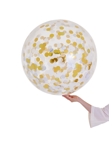 JUMBO Clear Confetti Filled Balloon - Metallics