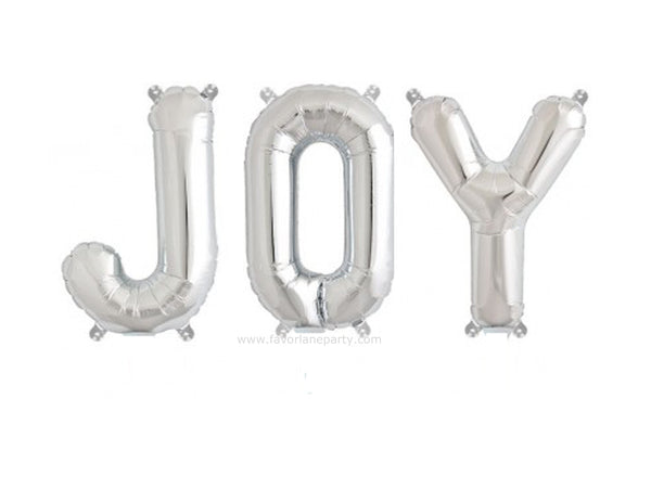 Foil 'JOY' Balloon - Silver