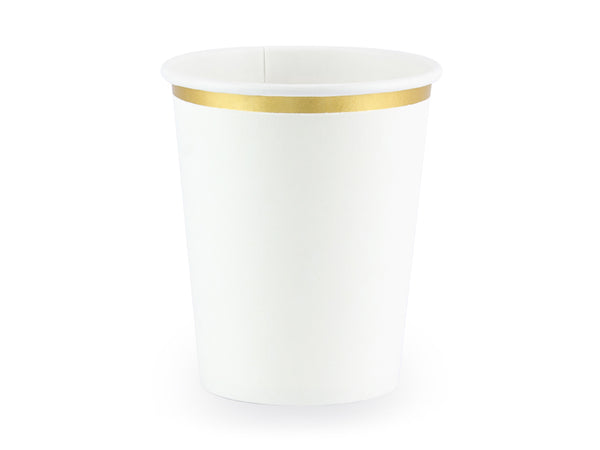 White Gold Rimmed Paper Cups