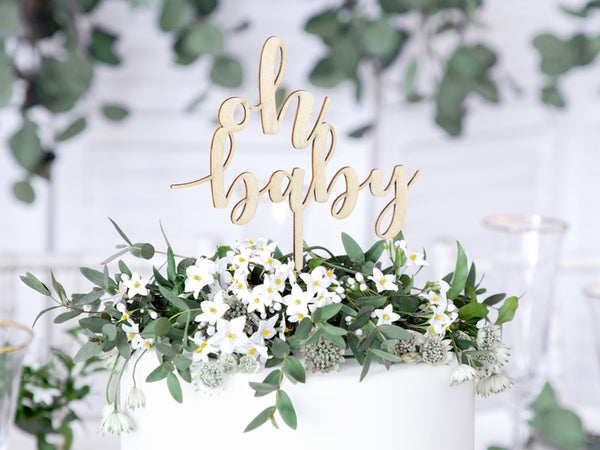 Wooden 'oh baby' Cake Topper