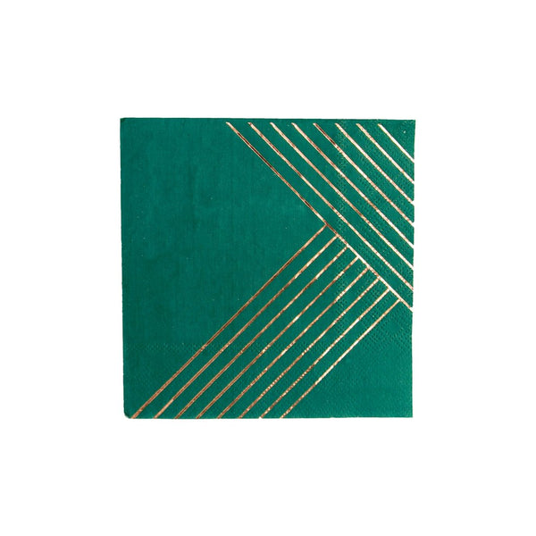 Manhattan Dark Green Striped Cocktail Napkin