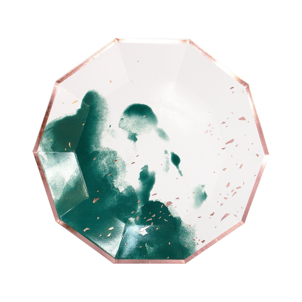 Manhattan - Emerald Green Watercolor Large Paper Plates