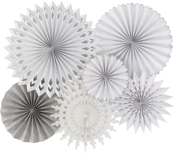 Winter White Paper Fan Set