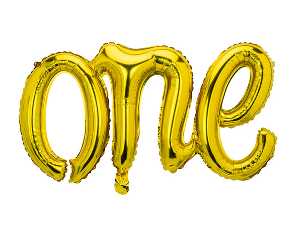 Foil Gold Script 'One' Balloon