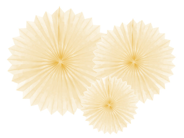 Light Cream Paper Fan Set