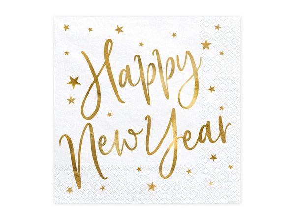 Gold Foiled Happy New Year White Napkins