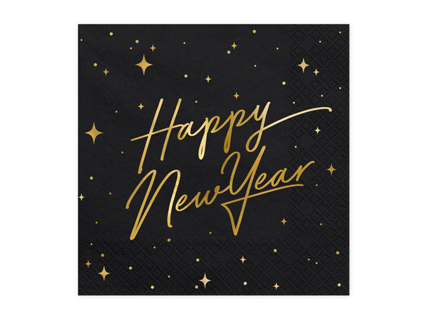 Gold Foiled Happy New Year Black Napkins