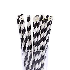 Paper Straws - Black + White Stripe