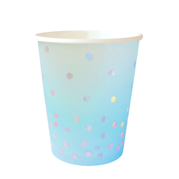 Blue Iridescent Paper Cups