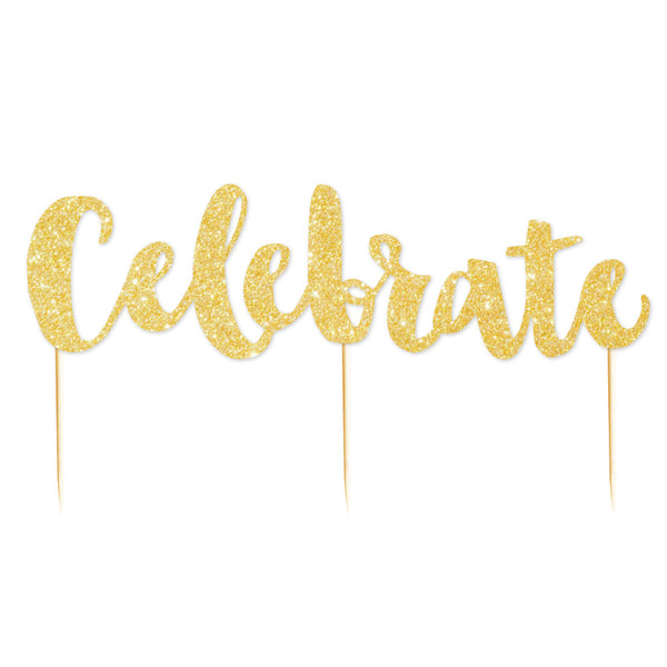 Gold Glitter 'Celebrate' Cake Toppers