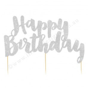 Silver Glitter 'Happy Birthday' Cake Topper