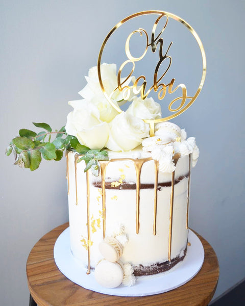 'Oh Baby' Circle Cake Topper - Gold or Rose Gold