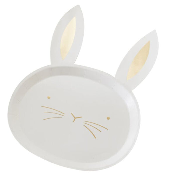Gold Foiled Bunny Paper Plates