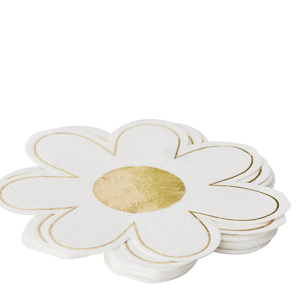Gold Foiled Daisy Paper Napkins