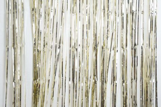 White Gold Fringe Curtain Backdrop