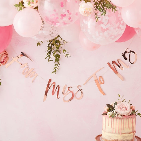 Rose Gold From Miss to Mrs Script Bunting