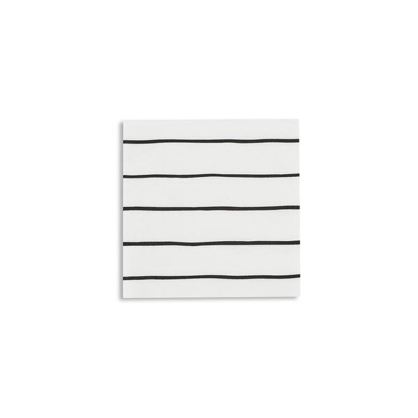 Frenchie Striped Beverage Napkins - Black