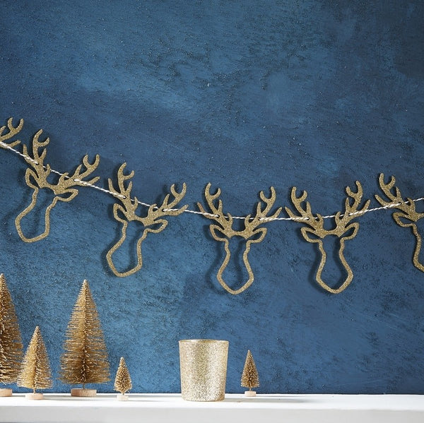 Gold Glitter Wooden Stag Head Bunting
