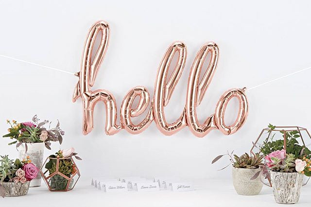 Foil Rose Gold Script 'hello' Balloon