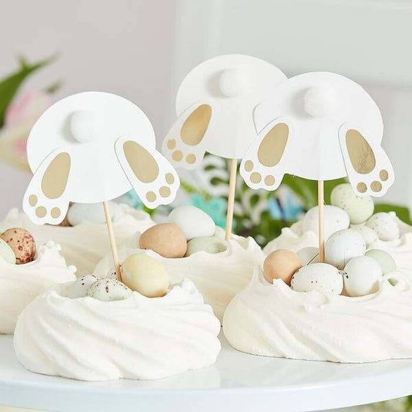 Gold Easter Bunny Bum Cupcake Toppers