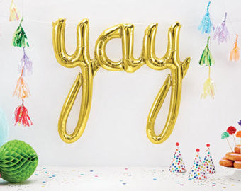 Foil Gold Script 'Yay' Balloon