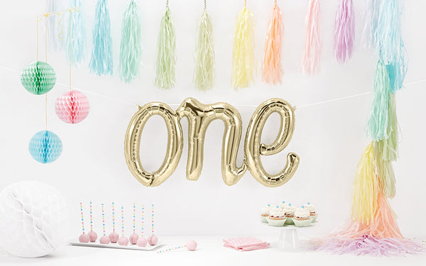 Foil White Gold Script 'One' Balloon