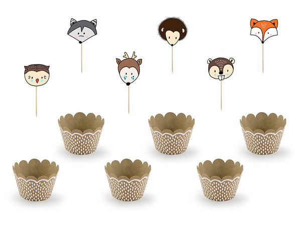 Woodland Party Cupcake Wrapper + Topper Set