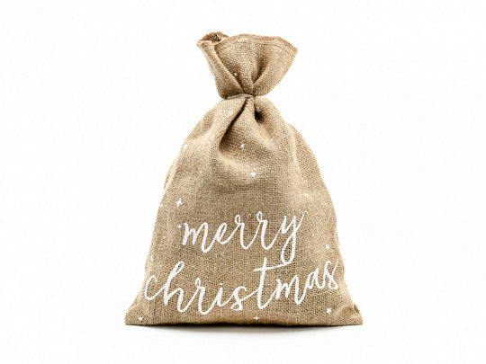 Merry Christmas Jute Hessian Gift Sack