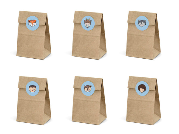 Woodland Party Mini Kraft Paper Bags with Stickers