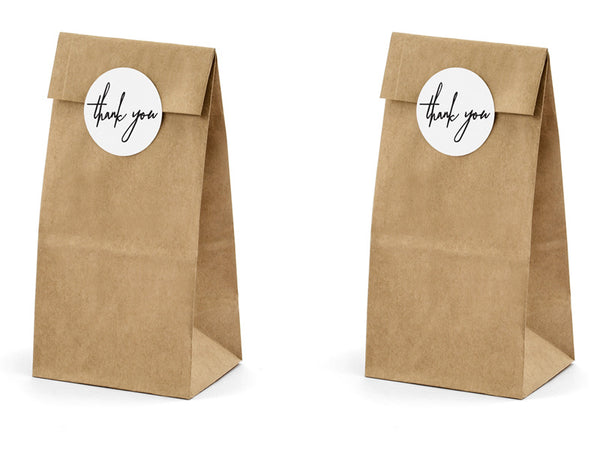 Mini Kraft Paper Bags with Circle Thank You Stickers
